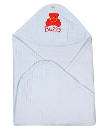 Buzzy Cotton Hooded Quilted Wrap Embroidered - Light Blue