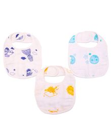 Karpaas Premium Organic Cotton Muslin Small Bib Pack Of 3 Up In The Sky