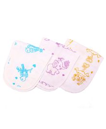 Kaarpas Premium Organic Cotton Muslin Burp Cloth Pack Of 3 Adorable Animals