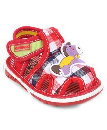 Cute Walk by Babyhug Check Sandals Horse Motif - Red
