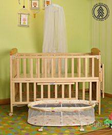 Babyhug Kelly Baby Wooden Cot With Bassinet - Natural