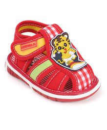 c34fb8bb248d1 Cute Walk by Babyhug Sandals Velcro Closure Cat Face Patch   Checks Print -  Red