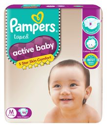 Pampers Active Baby Diapers Medium - 90 Pieces