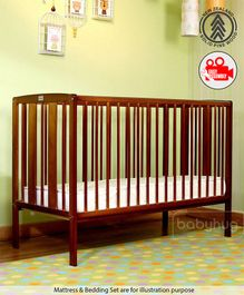 Babyhug Malmo Wooden Cot - Walnut Color