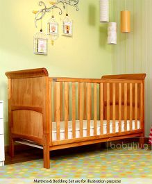Babyhug Aspen Wooden Cot Cum Bed - Natural