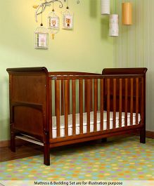 Babyhug Aspen Wooden Cot Cum Bed - Walnut Color