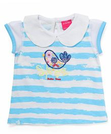 Button Noses Half Sleeves Tee Stripe Design - Blue