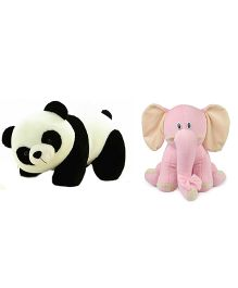 Deals India Panda And Elephant Soft Toy Combo - Pink Black White