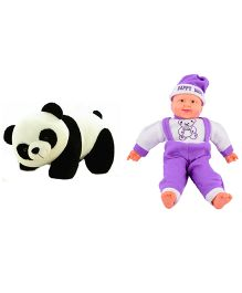 Deals India Panda Soft Toy And Musical Baby Doll - White Purple Black