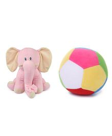 Deals India Elephant Soft Toy & Soft Ball - Pink Multi Color
