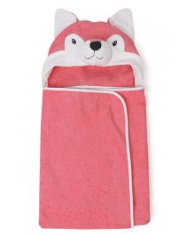 Babyhug Hooded Terry Cotton Towel Fox Design - Coral White