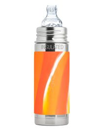 Pura Kiki Insulated Infant Bottle With Silicone Sippy Cup & Sleeve Orange - 260 ml