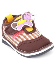 Cute Walk by Babyhug Shoes With Horse Applique - Brown