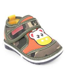 Cute Walk by Babyhug Shoes With Cow Applique - Green Orange
