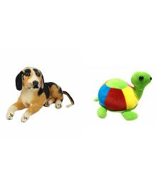Deals India Dog & Tortoise Soft Toys Pack of 2 - Brown Multicolour
