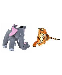 Deals India Mother Elephant With 2 Babies & Tiger Soft Toy - Grey Yellow
