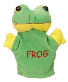 Play Toons Hand Puppet Frog Soft Toy Green Yellow - Height 21 cm