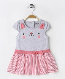 Doreme Cap Sleeves Frock Kitty Design - Grey Pink