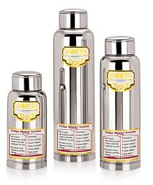 Paanjo Stainless Steel Bottles Pack of 3 Silver - 900 ml