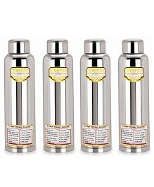 Paanjo Stainless Steel Bottle Silver Pack of 4 - 900 ml