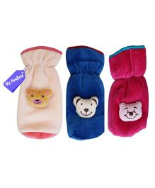 My NewBorn Velvet Bottle Cover Teddy Motif Up to 240 ml Pack of 3 - Blue Pink