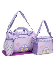 Diaper Bag With Changing Mat Car Patch Purple - 4 Piece Set