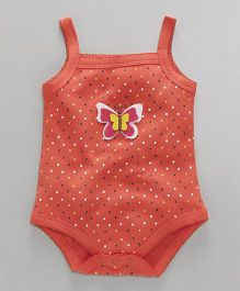 Babyhug Singlet Style Cotton Onesie Butterfly Patch - Coral