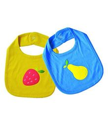 Shumee Organic Cotton Bibs With Snap Button Closure Strawberry & Pear Patch - Green Blue