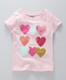 Doreme Short Sleeves Tee Heart Print - Pink Multicolour