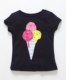 Doreme Short Sleeves Top Ice-cream Print - Dark Navy