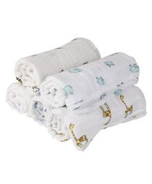 Mom's Home Organic Cotton Muslin Swaddle Cum Bath Towel Printed Pack of 3 - White (Design May Vary)