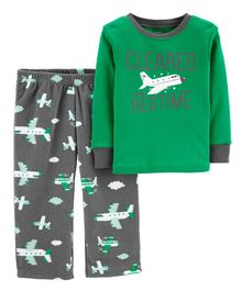 Carter's 2-Piece Airplane Cotton & Fleece PJs - Dark Green