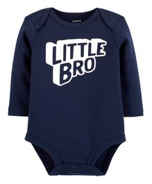 Carter's Full Sleeves Little Bro Collectible Bodysuit - Navy Blue