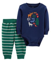 Carter's 2-Piece Animals Bodysuit Pant Set - Navy
