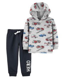 Carter's 2 Piece Hero Vehicle Hoodie & French Terry Jogger Set - Grey & Navy Blue
