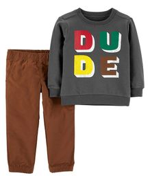 Carter's 2-Piece Dude French Terry Tee & Pant Set - Grey Brown