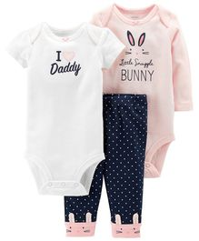 Carter's 3 Piece Little Character Set - Pink White Navy Blue