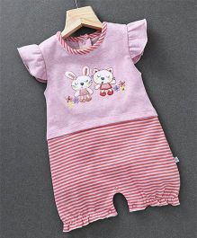Baby Go Cap Sleeves Romper Animal Patch - Pink