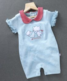 Baby Go Short Ruffled Sleeves Romper Kitty Patch - Sky Blue