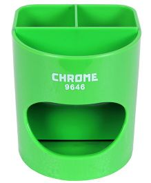 Chrome Desk Pen Holder - Green