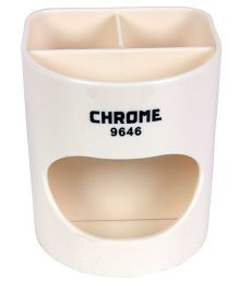 Chrome Desk Pen Holder - Cream