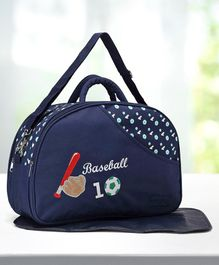 Babyhug Diaper Bag With Changing Mat Base Ball Print - Navy Blue