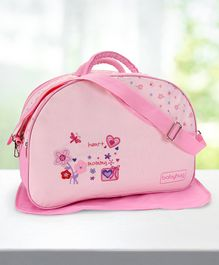 Babyhug Diaper Bag With Changing Mat Heart & Floral Print - Pink