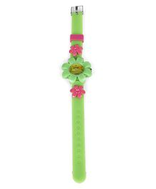Analog Wrist Watch Floral Motif - Green