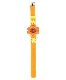 Analog Wrist Watch Floral Motif - Orange
