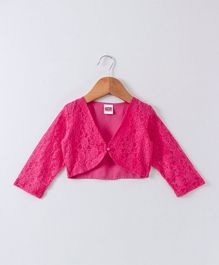 Babyhug Full Sleeves Party Wear Lace Shrug With Pearl Button - Fuchsia