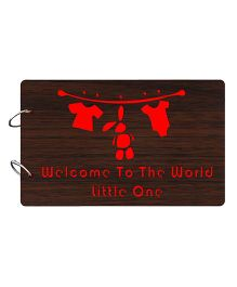 Studio Shubham Welcome to the World Little One Wooden Scrap Book - Dark Brown