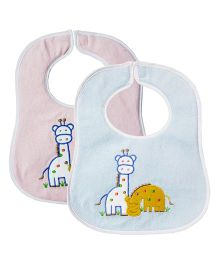 My NewBorn Bibs Animal Embroidered Design Pack of 2 - Blue & Pink