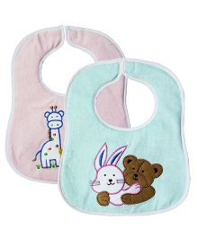 My NewBorn Bibs Animal Embroidered Design Pack of 2 - Sea Green & Pink