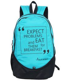 Polestar School Bag Funny Quote Print Blue - Height 18 inches